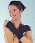 Medima 372 Handschoenen open vingers zwart 50% Angora